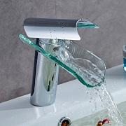 robinet mitigeur cascade en chrome et verre Auralum