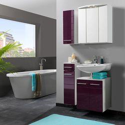 harmoniser la déco d'une salle de bain avec les meubles couleurs aubergine