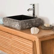 Vasque à poser rectangle en pierre marbre NAPLES noir Wanda Collection
